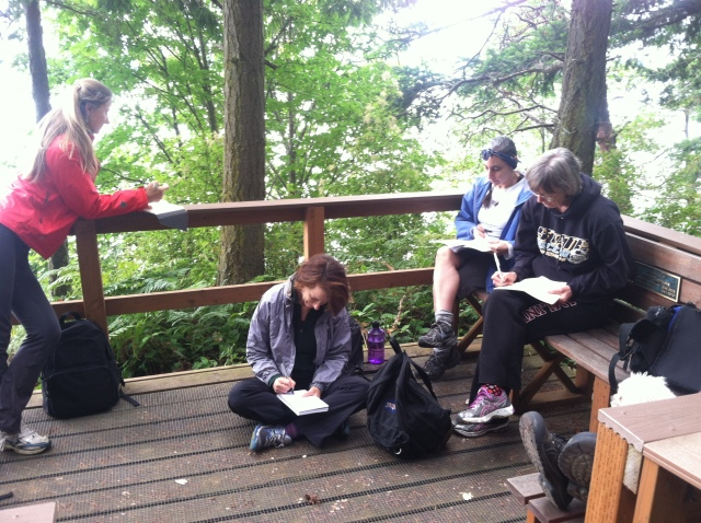 """Many thanks to the staff and volunteers (esp. Kristen!) at Cama Beach State Park, and the folks who participated in the first """"Hike and Write With the Poet Laureate."""" More soon!"""