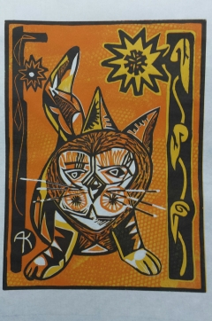 "Tony Kroes: ""Tiger at Marigold Gate"" Color-reduction woodcut."